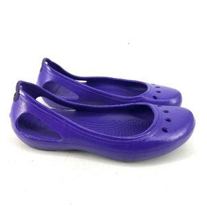 Crocs Womens Purple Ballet Flat Perforated Shoes 7